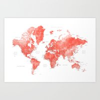 Living coral watercolor world map with cities Art Print