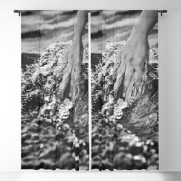 Running hand through the water, under the blue again black and white photograph / art photography Blackout Curtain