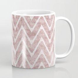 Palest Dusty Pink Zigzag Imitation Suede Chevron Coffee Mug
