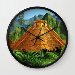 Elegant EL DORADO, City of Gold discovering - Digital painting + Collage Wall Clock