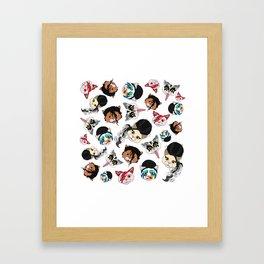 Pop Cats - Pattern on White Framed Art Print
