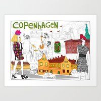 copenhagen Art Prints featuring Copenhagen by Nanu Illustration
