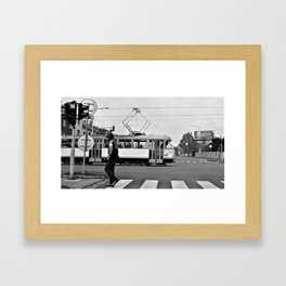 street scene tram and skull lad Framed Art Print