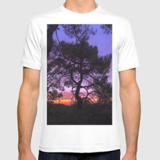 Purple trees. Into the woods at sunset Mens Fitted Tee MEDIUM White