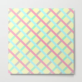 Abstract Geometic Pattern Square Grid Stripes multicolor Metal Print