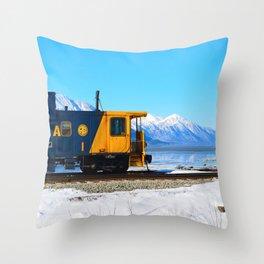 Caboose - Alaska Train Throw Pillow