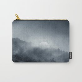 Night Shadows - Fog and Rising Moon over Forest Carry-All Pouch