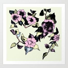 Branche de fleur vert Art Print
