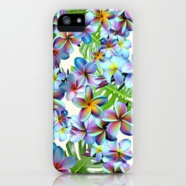 Rainbow Plumeria Pattern iPhone Case