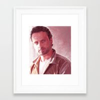 rick grimes Framed Art Prints featuring Rick Grimes by p1xer