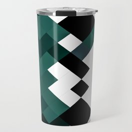 Emerald Green White Black Geometrical Pattern Travel Mug