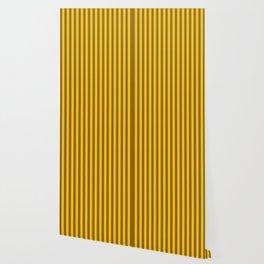 Amber Yellow Vertical Stripes Pattern Wallpaper