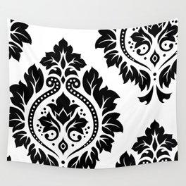 Decorative Damask Art I Black on White Wall Tapestry