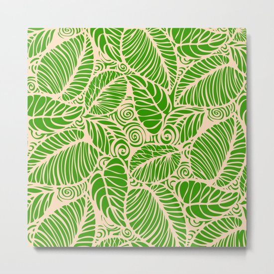 Summer Leaves Green Metal Print