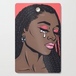 Coral Pink Crying Comic Girl Cutting Board