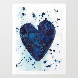 Splattered blue heart Art Print