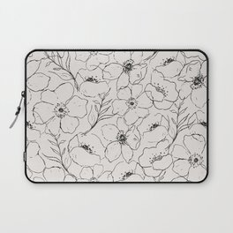 Floral Simplicity - Neutral Black Laptop Sleeve