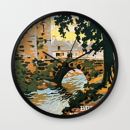 Bretagne et Normandie, French Travel Poster Wall Clock