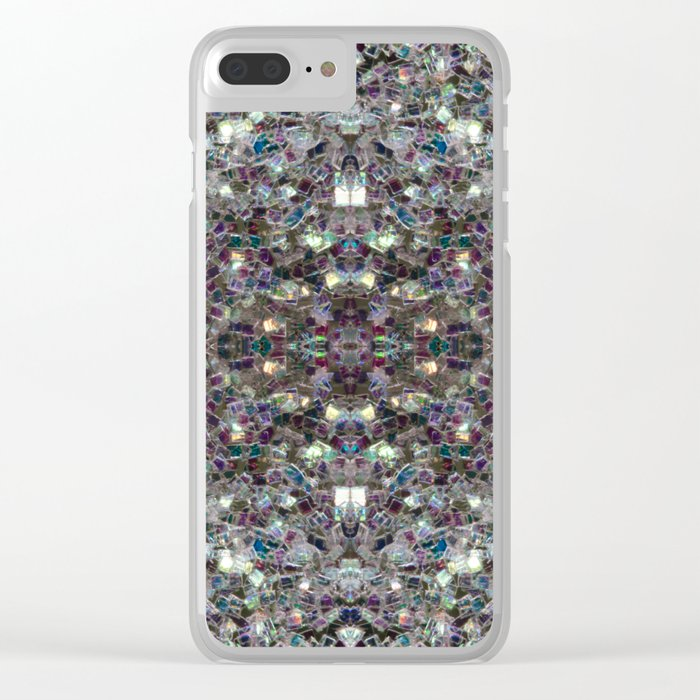 Sparkly colourful silver mosaic mandala Clear iPhone Case