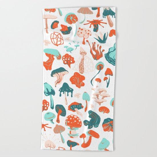 Mushroom Pattern (white) Beach Towel