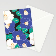 Japanese Style Camellia - Blue and Black Stationery Cards