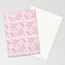 Elegant stylish dusty pink white floral lace Stationery Cards