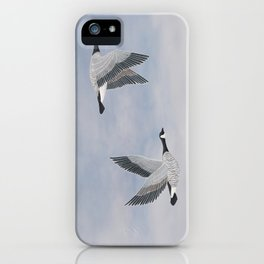 Canada geese and blue sky iPhone Case