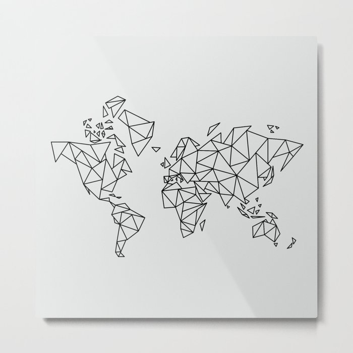Geometric Low Poly Map Of The World Polygon Geometry Metal Print