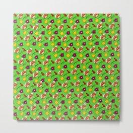 Hammy Pattern in Bright Green Metal Print