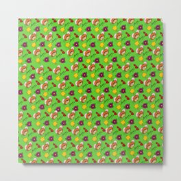 Hammy Pattern in Bright Green Metal Print
