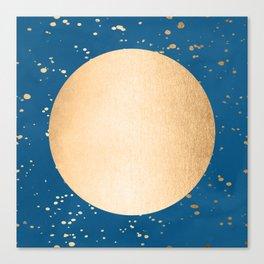 Paint Spatter Sun - Orange Sherbet Shimmer on Saltwater Taffy Teal Canvas Print
