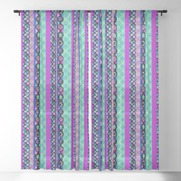 Striped patchwork -3 Sheer Curtain