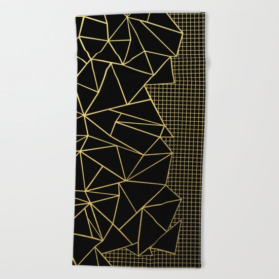 Abstract Outline Grid Gold Beach Towel