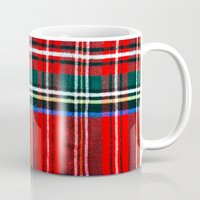 craftberrybush Mugs featuring Red Plaid Pattern  by craftberrybush
