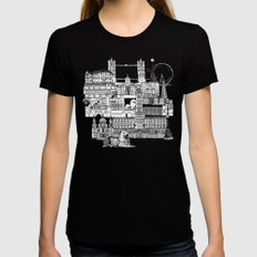 London toile black white MEDIUM Black Womens Fitted Tee
