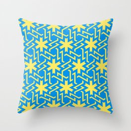 Abstract yellow-blue snow pattern Throw Pillow