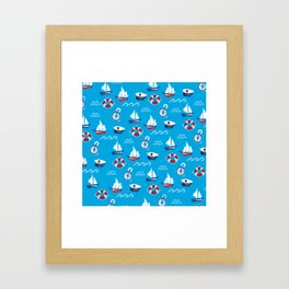 Sea Retro Pattern Framed Art Print