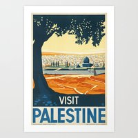 palestine Art Prints featuring Palestine by Lost & Found
