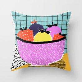 Crucial - modern pop art throwback neon miami memphis design geometric grid fruit food art print Throw Pillow