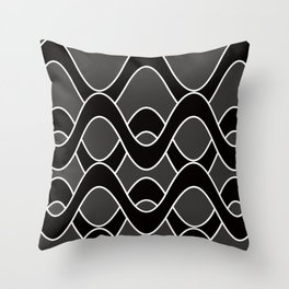 Curvlinear in black , white and gray Throw Pillow