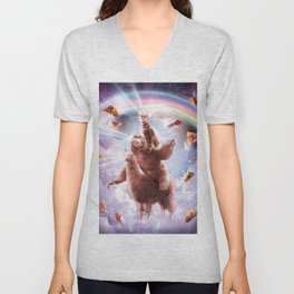 Laser Eyes Space Cat Riding Sloth, Llama - Rainbow Unisex V-Neck