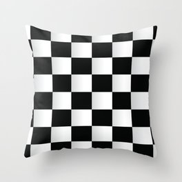 BLACK AND WHITE SQUARES Abstract Art Throw Pillow