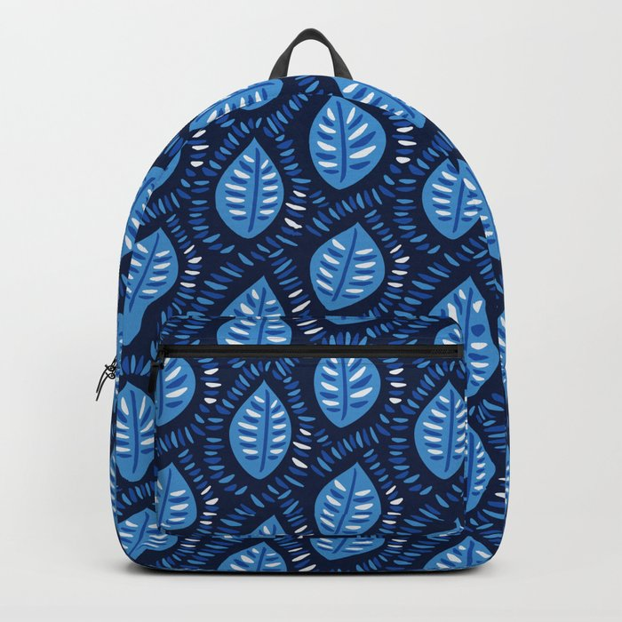 Beautiful Decorative Blue Leaves Pattern Backpack
