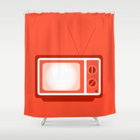 tv Shower Curtains featuring television by brittcorry