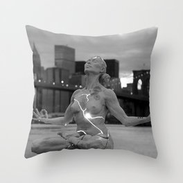 Female Nude Statue, Brooklyn, New York Waterfront black and white photograph Throw Pillow