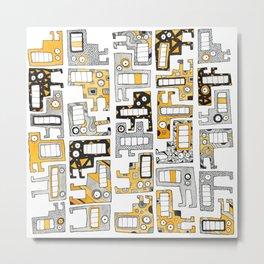 Tetris monsters yellow and grey Metal Print