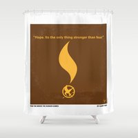katniss Shower Curtains featuring No175 My Games Hunger minimal movie poster 1 by Chungkong