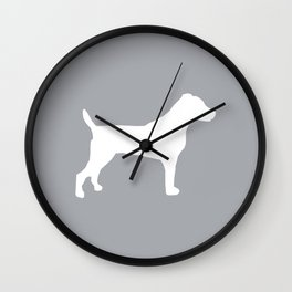 Jack Russell Terrier gray and white minimal dog pattern dog silhouette Wall Clock