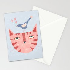 Cat, bird and flower Stationery Cards