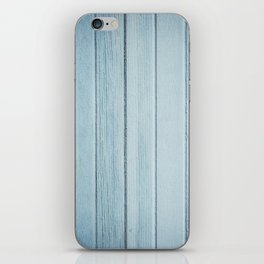 Bright blue wood timber texture wall iPhone Skin